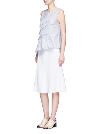 Figure View - Click To Enlarge - Tibi - Pinstripe poplin smocking sleeveless top