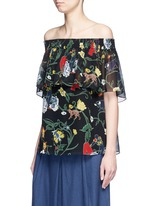 'Seville' print ruffle silk off-shoulder top