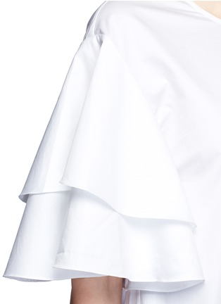 Detail View - Click To Enlarge - Tibi - Asymmetric ruffle sleeve poplin top