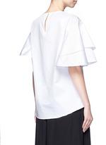 Asymmetric ruffle sleeve poplin top