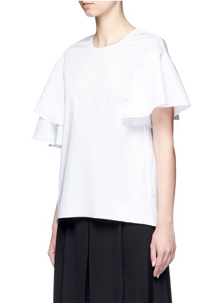 Front View - Click To Enlarge - Tibi - Asymmetric ruffle sleeve poplin top