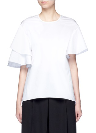 Main View - Click To Enlarge - Tibi - Asymmetric ruffle sleeve poplin top