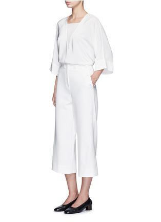 模特儿示范图 - 点击放大 - TIBI - ANSON钮扣装饰绉绸阔腿裤