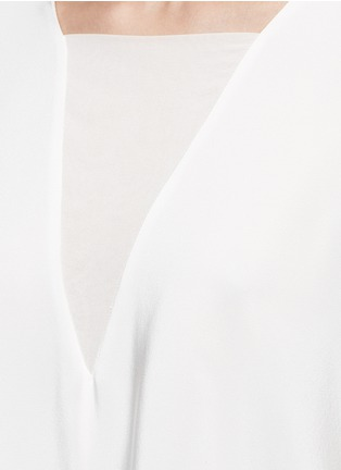 Detail View - Click To Enlarge - Tibi - Dolman sleeve sheer V-neck silk top