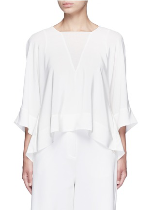 Main View - Click To Enlarge - Tibi - Dolman sleeve sheer V-neck silk top