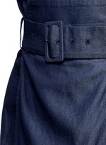 Belted paperbag waist twill skirt