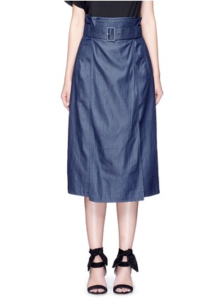 Main View - Click To Enlarge - Tibi - Belted paperbag waist twill skirt