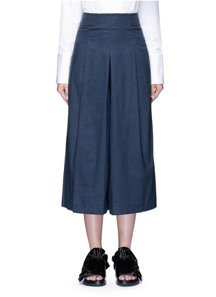 Main View - Click To Enlarge - Tibi - Inverted pleat cotton twill culottes