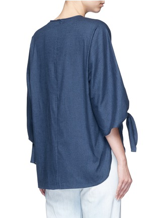 Back View - Click To Enlarge - Tibi - 'Sophia' tie cuff twill top