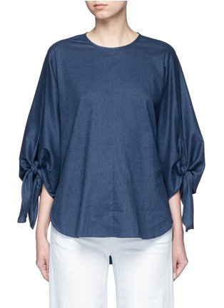 Main View - Click To Enlarge - Tibi - 'Sophia' tie cuff twill top