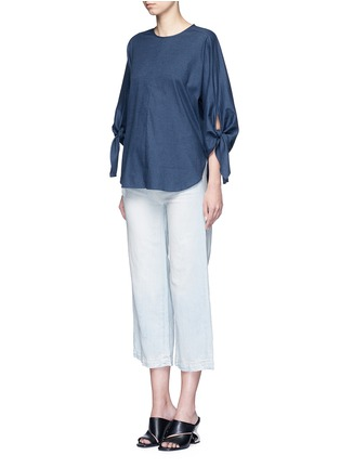 Figure View - Click To Enlarge - Tibi - 'Sophia' tie cuff twill top