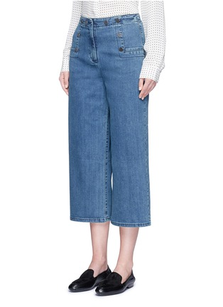 Front View - Click To Enlarge - Tibi - Cropped wide leg denim sailor pants