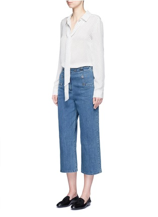 Figure View - Click To Enlarge - Tibi - Cropped wide leg denim sailor pants