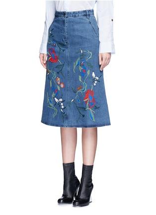 正面 -点击放大 - TIBI - MARISOL花卉刺绣A字牛仔半身裙
