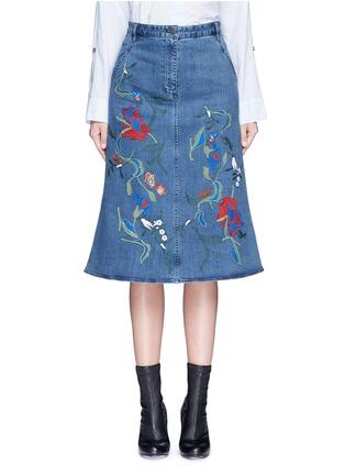 首图 - 点击放大 - TIBI - MARISOL花卉刺绣A字牛仔半身裙