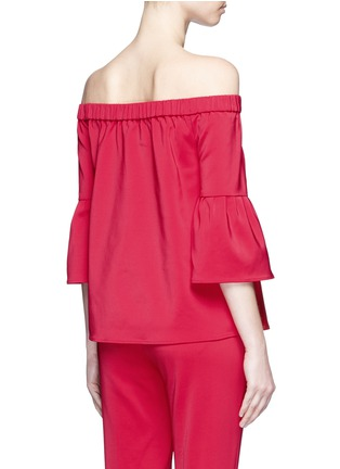 Back View - Click To Enlarge - Tibi - Lantern sleeve off-shoulder faille top
