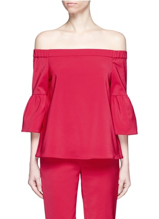 Main View - Click To Enlarge - Tibi - Lantern sleeve off-shoulder faille top