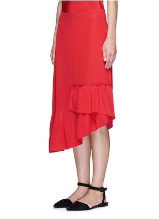 Front View - Click To Enlarge - Tibi - Asymmetric ruffled silk midi skirt