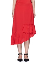 Asymmetric ruffled silk midi skirt