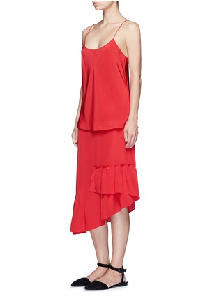 Figure View - Click To Enlarge - Tibi - Asymmetric ruffled silk midi skirt