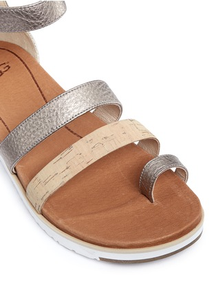 Detail View - Click To Enlarge - Ugg Australia - 'Zina' cork metallic leather strappy sandals