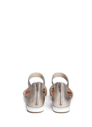 Back View - Click To Enlarge - Ugg Australia - 'Zina' cork metallic leather strappy sandals