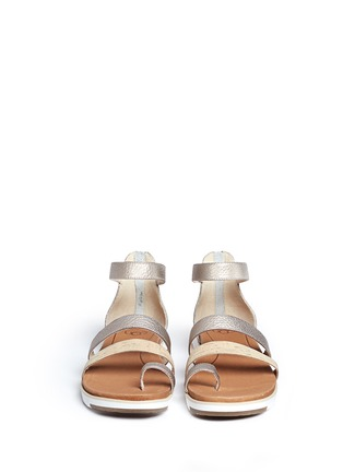 Front View - Click To Enlarge - Ugg Australia - 'Zina' cork metallic leather strappy sandals