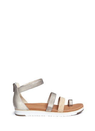 Main View - Click To Enlarge - Ugg Australia - 'Zina' cork metallic leather strappy sandals