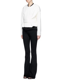 VICTORIA, VICTORIA BECKHAM Contrast satin collar wool crepe belted jacket