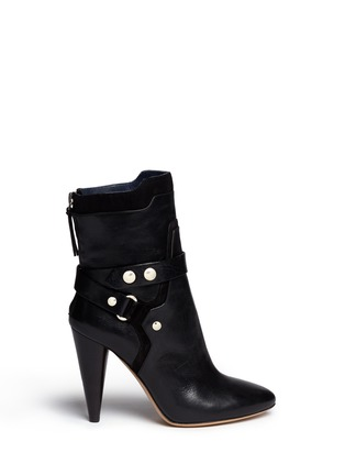 Main View - Click To Enlarge - Isabel Marant - 'Redford' harness leather combo ankle boots