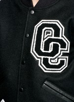 OC' leather sleeve varsity jacket