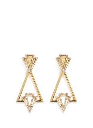 Main View - Click To Enlarge - Lulu Frost - 'Portico' glass pavé free swing geometric earrings