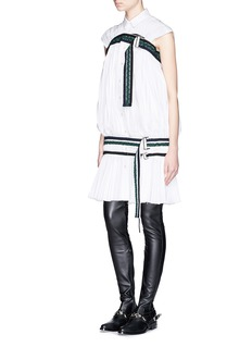 SACAI Braided belt Fortuny pleat shirt dress