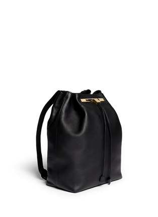 THE ROW - Grainy leather drawstring backpack
