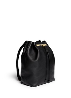 THE ROW Grainy leather drawstring backpack