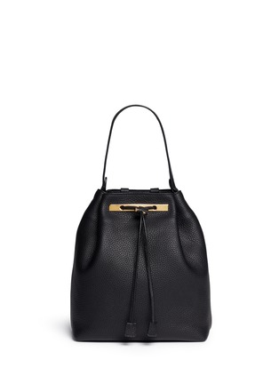 Detail View - Click To Enlarge - The Row - Grainy leather drawstring bucket backpack