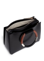 'Classic' wooden handle leather box bag
