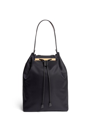 细节 - 点击放大 - THE ROW - Leather trim nylon drawstring backpack