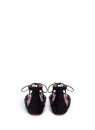 背面 - 点击放大 - AQUAZZURA - 'Mirage' snake trim suede caged sandals