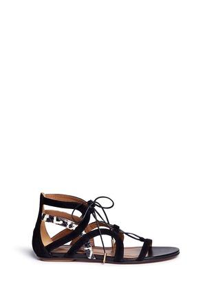 首图 - 点击放大 - AQUAZZURA - 'Mirage' snake trim suede caged sandals