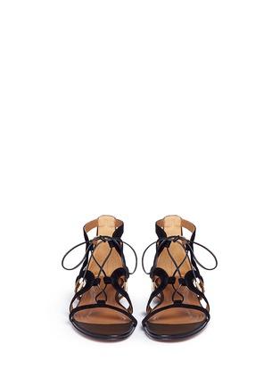 模特儿示范图 - 点击放大 - AQUAZZURA - 'Mirage' snake trim suede caged sandals
