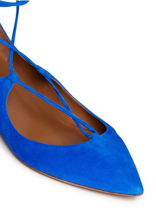 Detail View - Click To Enlarge - Aquazzura - 'Christy' lace up suede skimmer flats