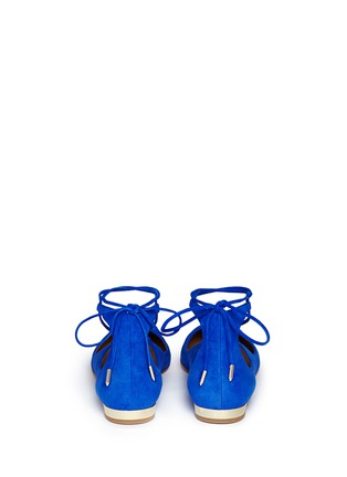 Back View - Click To Enlarge - Aquazzura - 'Christy' lace up suede skimmer flats