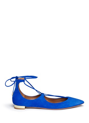 Main View - Click To Enlarge - Aquazzura - 'Christy' lace up suede skimmer flats