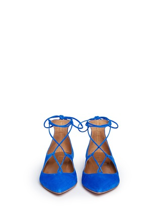 Figure View - Click To Enlarge - Aquazzura - 'Christy' lace up suede skimmer flats