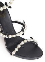 螺旋绕踝珍珠蝴蝶结高跟凉鞋