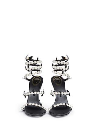 模特儿示范图 - 点击放大 - RENÉ CAOVILLA - 螺旋绕踝珍珠蝴蝶结高跟凉鞋