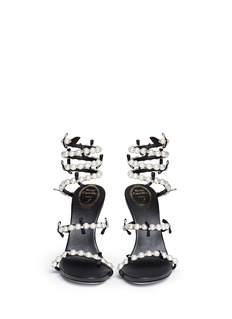 RENÉ CAOVILLA'Snake' pearl spring coil anklet suede sandals