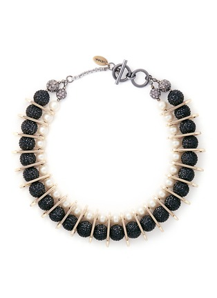 Main View - Click To Enlarge - Venna - Chain link pearl pavé collar necklace