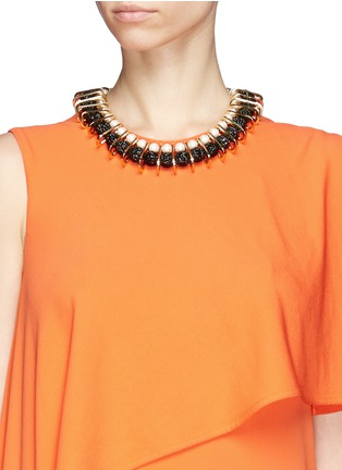 Figure View - Click To Enlarge - Venna - Chain link pearl pavé collar necklace